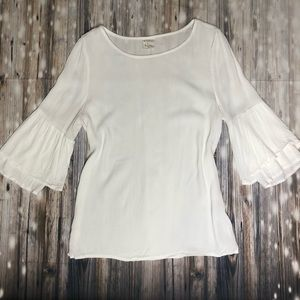 By Together | Boho Bell Sleeve White Top